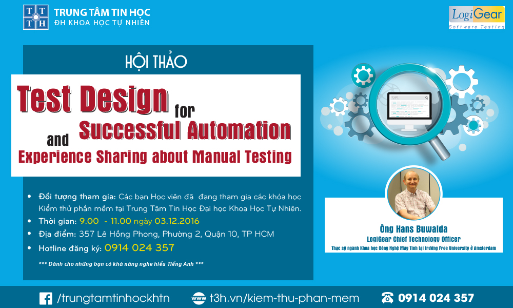 "Hội thảo ""Test Design for Successful Automation and Experience Sharing about Manual Testing"""